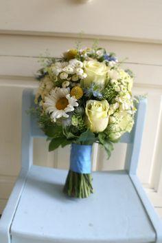 Summer posy in lemon and blue Send Flowers, Florists, Cork, Floral Wreath, Lemon, Bouquet, Wreaths, Gallery, Summer