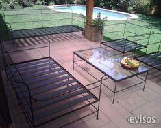 Sillones y mesa hierro con tapa de cemento muebles de - Muebles de hierro forjado ...