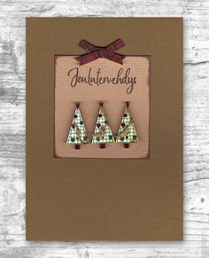Puiset joulukuusinapit Christmas Cards, Drop Earrings, Jewelry, Xmas Cards, Jewellery Making, Jewelery, Drop Earring, Jewlery, Christmas Greetings