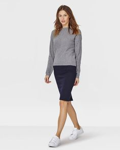 DAMES STRUCTURED PENCIL ROK Donkerblauw - WE fasion. €34,99