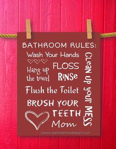 Hey, I found this really awesome Etsy listing at https://www.etsy.com/listing/159662934/bathroom-rules-kids-bathroom-art