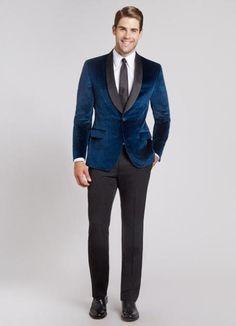 #MensUSA - #MensUSA Mens Navy Blue Dinner Jacket Velvet tuxedo Black lapel Shawl Lapel - AdoreWe.com