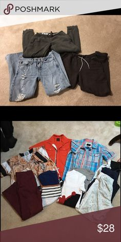 Boys Bottom/Top Bundle 2 sweats and 1 brand new pair of Abercrombie jeans and burgundy khakis (size 10) 1 pair of sweats is by GAP and the other no brand name. Size 6-8 sweats and jeans are size 10 slim. Shirts are Sean John (new)  Jordan shirt/ Nike shorts. All in good condition. abercrombie kids Other