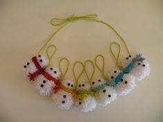 Pom Pom Snowman Christmas Garland by Daulhouseshop on Etsy