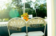 Mr and mrs chair fall wedding