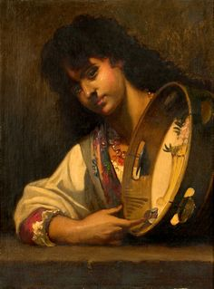 gypsy's in oil paintings  | Paintings with Roma. Gypsy tambourine