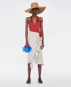 Image 1 of WRAP-STYLE SWIMSUIT WITH BOW from Zara Swimsuits, Bikinis, Zara Women, Wrap Style, Dress To Impress, Panama Hat, Style Me, Bows, Clothes