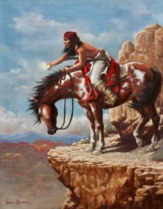 Native American Painting - Signal by Harvie Brown Native American Paintings, Native American Pictures, Indian Pictures, Native American Artists, Indian Paintings, Native American Warrior, Native American Wisdom, Native American History, Native American Indians