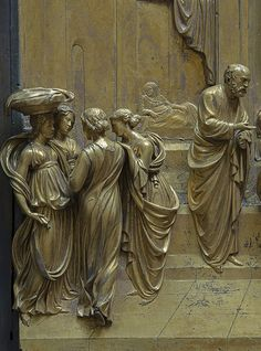 GHIBERTI Lorenzo (1378-1455) - Florence Baptistry - The Gates of Paradise -La Porta del Paradiso - detail from the story of Jacob and Esau