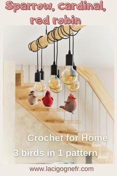 Stuffed Animal Patterns, Diy Stuffed Animals, Crochet Bird Patterns, Crochet Birds, Tiny Bird, Country Farmhouse Decor, Diy Doll, Red Robin, Crochet Toys