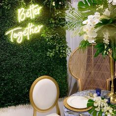 Elegant wedding backdrop with LED neon sign on boxwood wall panel backdrop from CV Linens. Safari themed wedding with boxwood wall panels and better together wedding LED neon sign. Safari theme backdrop design for photo shoots. Wedding reception backdrop decorations. High quality LED sign for weddings and backdrops. #weddingdecorations #neonsign #weddingsign #backdrop #backdropdecorations #flowerwall Backdrop Design, Diy Backdrop, Backdrop Decorations, Wedding Decorations, Outdoor Wedding Backdrops, Wedding Reception Backdrop, Event Themes, Event Decor, Beachy Centerpieces