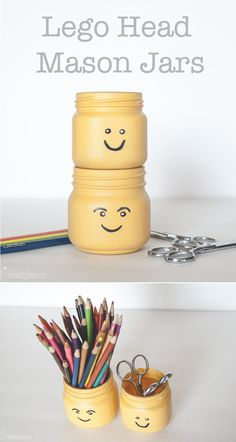 Lego head painted mason jars! Cute and easy! Use for a Lego themed birthday party or baby shower.