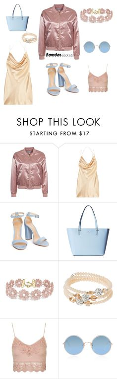 """Pastels and satin"" by molliewashell ❤ liked on Polyvore featuring NLY Trend, Yves Saint Laurent, Kate Spade, BaubleBar, sweet deluxe, Topshop, Sunday Somewhere and bomberjackets"