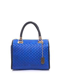 Blue leather braided grab bag Sale - ANNA MORELLINI Sale