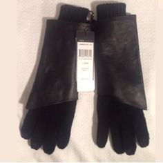 NWT BCBGMaxazria Leather Knit Touch Screen Gloves Fabulous pair of gloves from BCBGeneration - mixed media with a leather and knit combo.  Index, middle, and thumb are touch screen friendly. Knit is 92% Acrylic, 6% Polyester, 2% Metallic. Thanks for looking!! BCBGMaxAzria Accessories Gloves & Mittens