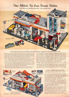 Tin-Litho Allstate Service Station from the Sears Christmas Catalog, c. 1950's