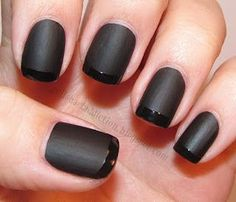 We love this matte black french manicure if you're feeling funky. Visit Beauty.com to get the nailcare you need to recreate the look.
