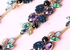1 Yard Colorful Rhinestone Crystal Golden Tone Chain Costume Applique Trims Sewing RT0018