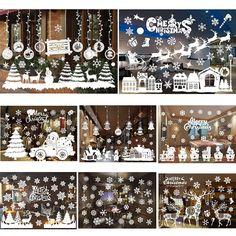 55*38 см Новогодние товары Наклейки на стену Новогодние товары елка Снеговик Антилопа Санта Клаус витрину Стекло Задний план Наклейки Декор P10