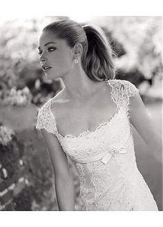 Elegant Lace Princess Scoop Neckline Cap Sleeves Wedding Dress - Wedding Diary