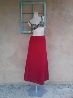 Vintage 1970s Skirt Maxi Red Corduroy Boho Granny by bycinbyhand