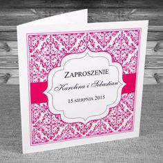 zaproszenia ślubne - Zaproszenia oryginalne. Z ażurowym różowym wzorem. Ciekawe, oryginalne. Kolory: biały, fuksja.