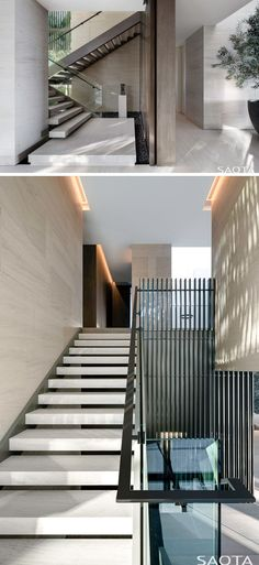 These modern stairs with glass safety screens and steel handrails lead to the upper floor of this house. Staircase Design Modern, Modern House Design, Railing Design, House Stairs Design, Stair Design, Stair Handrail, Staircase Railings, Staircase Ideas, Staircases