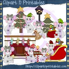 Christmas Mice 2012- #Clipart #ResellableClipart #ResellerClipart #Christmas #Mice #Mouse #Sleigh #Sled #ChristmasTree #Fireplace #Star #Stockings #CandyCanes #Gifts #Presents #RockingHorse #Cheese