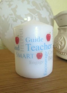 Teacher word art typography with apples. End of year candle gift. 7cm