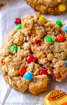 Peanut Butter Cup Surprise Monster Cookies-- there's a peanut butter cup baked inside!