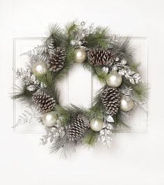 Blooming Holiday 24'' Grapevine, Pinecone & Berry Wreath-Silver