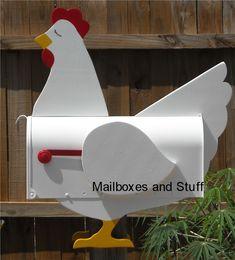 Chicken Mailbox - hand made, hand painted Farm Animal Mailboxes! Funny Mailboxes, Unique Mailboxes, Painted Mailboxes, Mailbox Post, Mailbox Ideas, Wood Projects, Projects To Try, Craft Projects, Wood Crafts