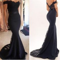 Sexy Black Lace Off Shoulder Mermaid Prom Dresses, Gorgeous Dresses For Prom The dress is fully lined, 4 bones in the bodice, chest pad in the bust, lace up back or zipper back are all available, tota