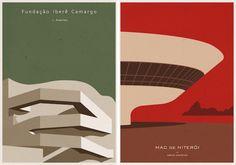 El artista gráfico André Chiote quiere que decoremos nuestros estudios y oficinas como lo hacíamos de jóvenes y para ello ha diseñado una serie de posters de arquitectura, de diseño minimalista, que juntan una serie de grandes obras de la arquitectura en un formato cotidiano y con un look de mediados del siglo XX.