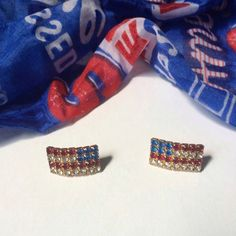 American flag rhinestone earrings American flag earrings set in gold tone metal with red, white, & blue rhinestones. Wear them as hanging flags or flying in the breeze. Not interested in trades. Jewelry Earrings