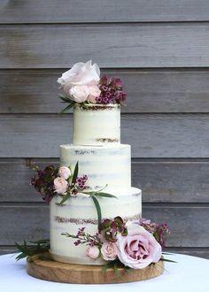 Semi-naked blush and burgundy wedding cake. #purpleweddingcakes #BurgundyWeddingIdeas