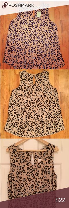 Pleione top New with tags pleione printed top. Size large. A little longer in the back with cute ruffle detail. Back has a small keyhole. With button closer Anthropologie Tops Blouses