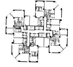 Waterside towers / Davis&Brody Associates_ typical floor plan_ middle floors