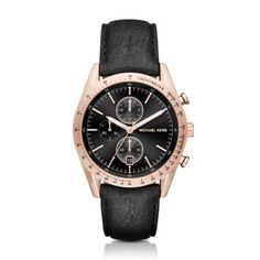 Michael Kors Black Accelerator Watch Smooth black leather complements the bold rose gold-tone case of the sport-inspired Michael Kors Accelerator chronograph watch.