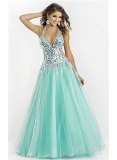 Ball Gown V Neck Tulle and Sequins Blue Prom Dress