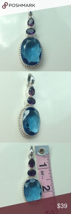 925 Sterling silver topaz amethyst pendant 💙💜💙 Gorgeous 💯% 925 Sterling silver pendant 2.5 inches X 1 inch pendant. 💯% Amethyst gem stones at top, and Swiss blue topaz gem stone at bottom. Hand made, stamped 925. Silver detail around Topaz stone NWOT, beautiful 💜💙💜💙💜price drop Hand made Jewelry Necklaces