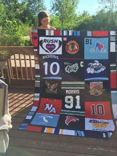 Quilt of hockey jerseys - keepsake for my daughter as she heads off to university