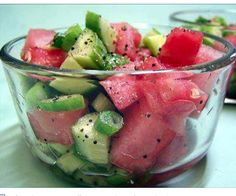 Sweet and Tangy Watermelon Twist Salad: Total Time: 10 minutes 6 servings, about 2/3 cup each INGREDIENTS: 2 tbsp rice vinegar 2 1/2 tsp sugar 2 cups diced seeded watermelon 2 cups diced cucumber 1/2 cup chopped fresh cilantro 1/4 cup unsalted dry-roasted peanuts, toasted, coarsely chopped DIRECTIONS: Stir together vinegar & sugar in medium bowl until sugar almost dissolves. Add watermelon, cucumber & cilantro; toss gently to combine. Before serving, sprinkle with peanuts.