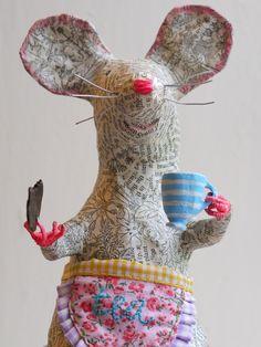 cuppa tea  papier mache mouse itscloudcuckoo