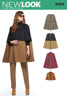 misses' crew neck cape can be made with optional closures in one fabric or two contasting fabrics for a trendy color block look. add an edge of trim to this lined cape or make it short with a neck tie for special occasions. new look sewing pattern. New Look Patterns, Coat Patterns, Dress Patterns, Sewing Patterns, Sewing Clothes, Diy Clothes, Costura Fashion, Fall Sewing, Diy Couture