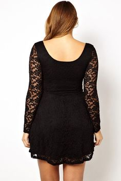 68ca3fe69b445d Big n Trendy Black Lace Overlay Skater Plus Size Dress