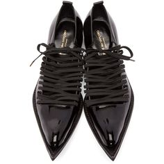 Comme des Garçons Black Patent Leather Pointed Oxfords (660 CAD) ❤ liked on Polyvore featuring shoes, oxfords, black lace up shoes, black patent leather shoes, cut-out oxfords, oxford shoes and pointy toe shoes