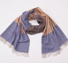 NWT $695 LUCIANO BARBERA Brown-Blue Birdseye Colorblock 100% Cashmere Scarf