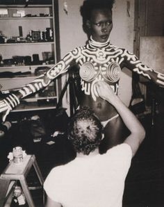 Grace Jones by Keith Haring. Photographed by Andy Warhol.