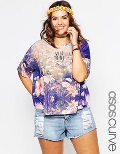 Find the best selection of ASOS CURVE T-Shirt With Wild Thing Daisy Print. Shop today with free delivery and returns (Ts&Cs apply) with ASOS! Plus Size Fashion For Women, Plus Size Womens Clothing, Clothes For Women, Size Clothing, Curvy Outfits, Plus Size Outfits, Plus Size Teen, Teen Fashionista, Festival Must Haves